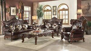 Awe Inspiring Details About Barcelona Dark Brown Tufted Traditional 2Pc Leather Sofa Set With Winged Back Unemploymentrelief Wooden Chair Designs For Living Room Unemploymentrelieforg
