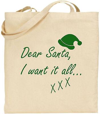 Liebe Santa I Want It All Groß Baumwolle Einkaufstasche Weihnachten Bag