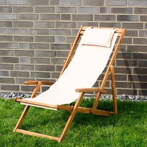 Relaxliege garten holz  Liegestuhl Relaxliege Garten Sonnenliege Strandliege Holz Stoff 4 ...
