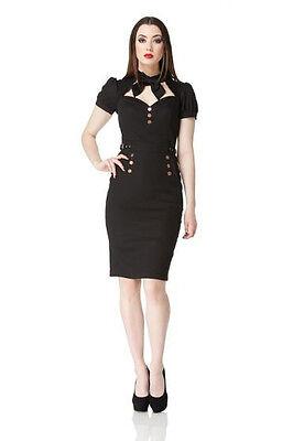 JAWBREAKER LADIES BLACK STEAMPUNK GOTHIC DRESS VICTORIAN BELT PUFF NECK TIE