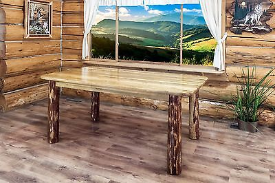 Rustic Log Dining Room Tables 6 ft Kitchen Table Amish Made Lodge Cabin  Style | eBay
