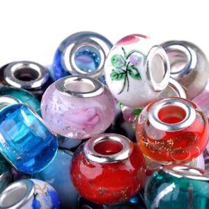 50St-Mischen-Glasperlen-Muranoglas-Perlen-Lampwork-Grosslochperlen-European-Beads