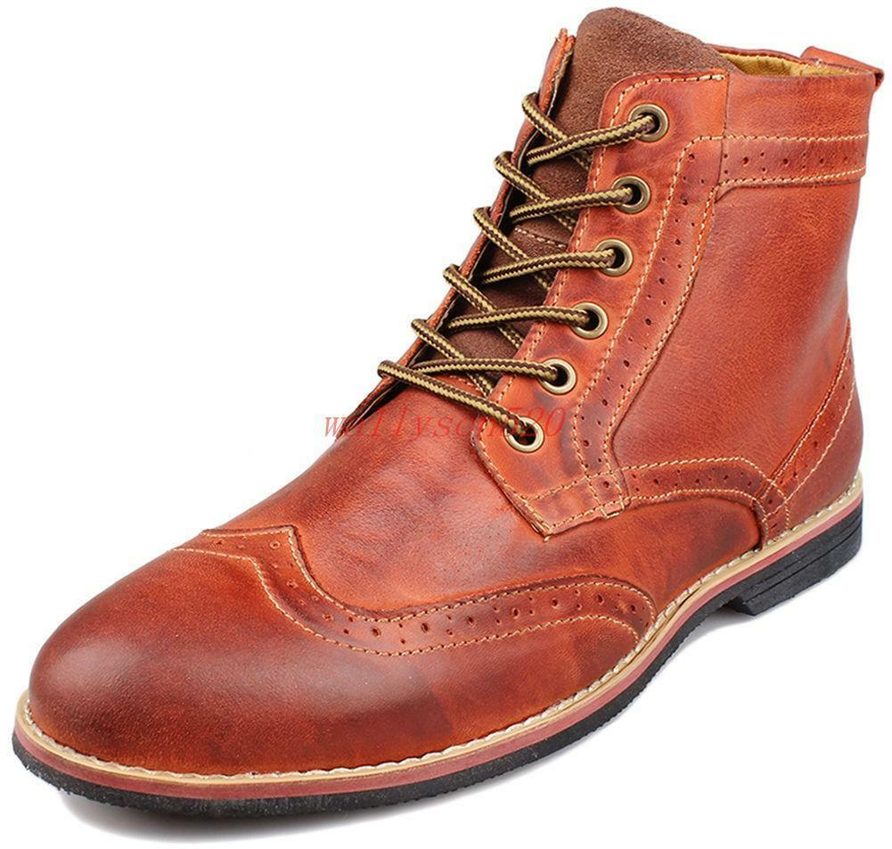 Mens Oxford Brogue Ankle Boot Lace Up Wing-tip Casual Dress shoes Business V945