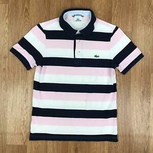 Vintage-LACOSTE-Womens-Short-Sleeve-Polo-Shirt-Striped-Retro-2-UK-6-8-Pink