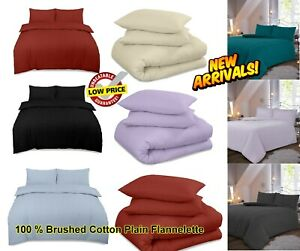 Thermal-Flannelette-100-Brushed-Cotton-Fitted-Flat-Duvet-Sheet-Set-Pillowcase