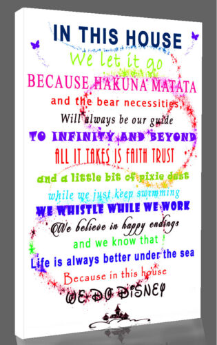 We Do Disney In This House Quote on CANVAS WALL ART Picture Print white multi