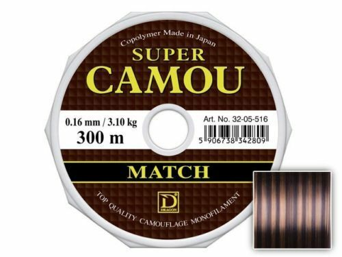 Dragon SUPER CAMOU Match 150m//0,14-0,25mm//Dark Camou//MONOFILAMENT-FISHING LINE