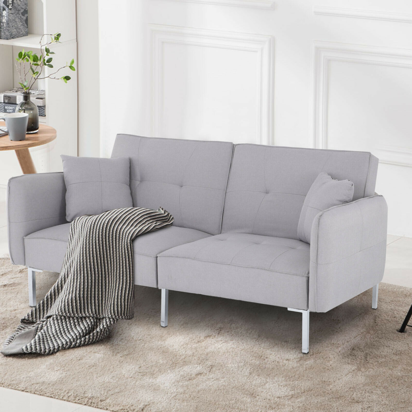 Ravena 2 Seat Click Clack Pull Out Sofa Bed Living Room Lounge Couch Grey Fabric For Sale Ebay