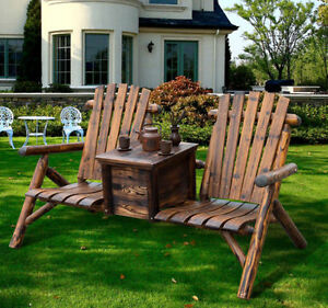 Image Is Loading Outdoor Patio 2 Person Double Adirondack Wood Bench