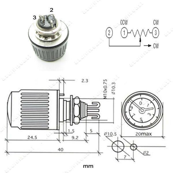 1pcs 10 Turns Dial Pointer Potentiometer WXD2-53 5K1 5.1K ohms