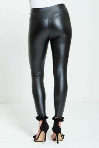 Womens HIGH WAIST Skinny Leather Leggings Pants Trousers Black Slim Fit Wet Look