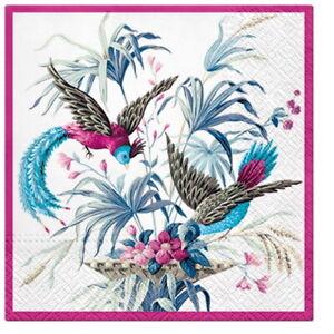 4-Servietten-034-Birds-of-Eden-034-33x33-Napkins-Voegel-Blumen-Tiere-Serviettentechnik