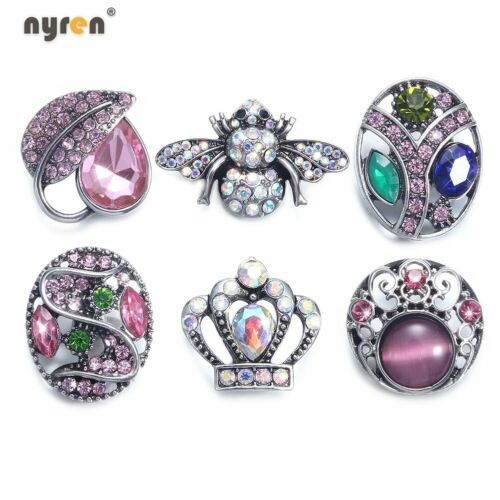 6pcs 18mm Snap Button Top Rhinestone Ginger Snap Charms For Snap Jewelry 0032