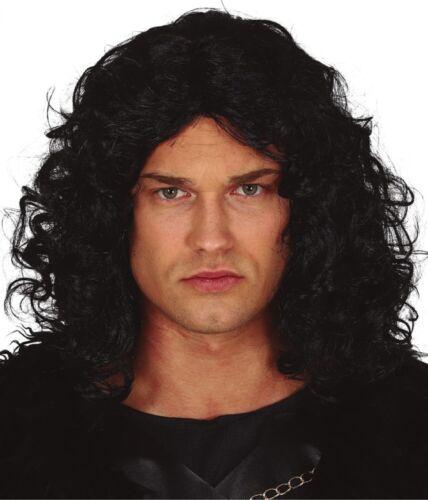 Mens Black Curly Snow Warrior Wig TV Halloween Fancy Dress Costume Accessory
