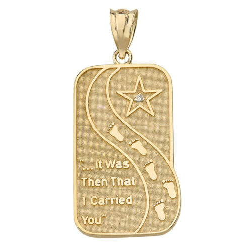 Solid 14k Yellow Gold Diamond Footprints in the Sand Poem Pendant Necklace