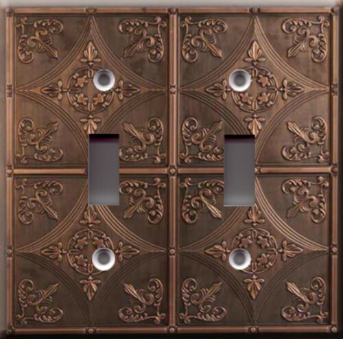 Antique cathedral ceramic faux finish Light Switch Plate Cover Vintage tile