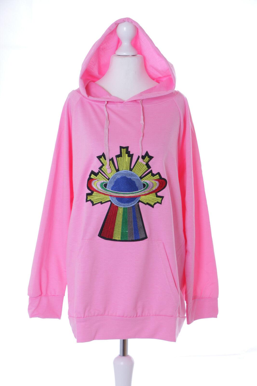 TS-139 Planet Earth Rainbow Neon Pink Pastel Goth Retro Jumper Sweatshirt