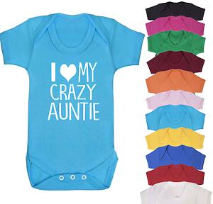I Love my Crazy Auntie Baby Vest  Babygrow New Aunt Aunty Gifts