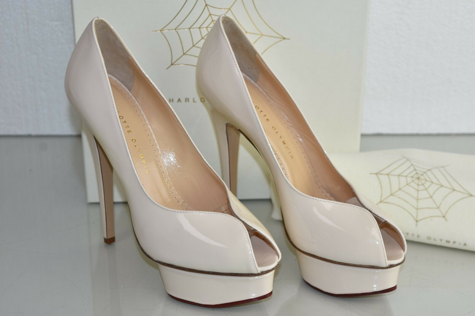 New Charlotte Olympia DAPHNE Patent Leather Platform Powder PVC shoes 39.5