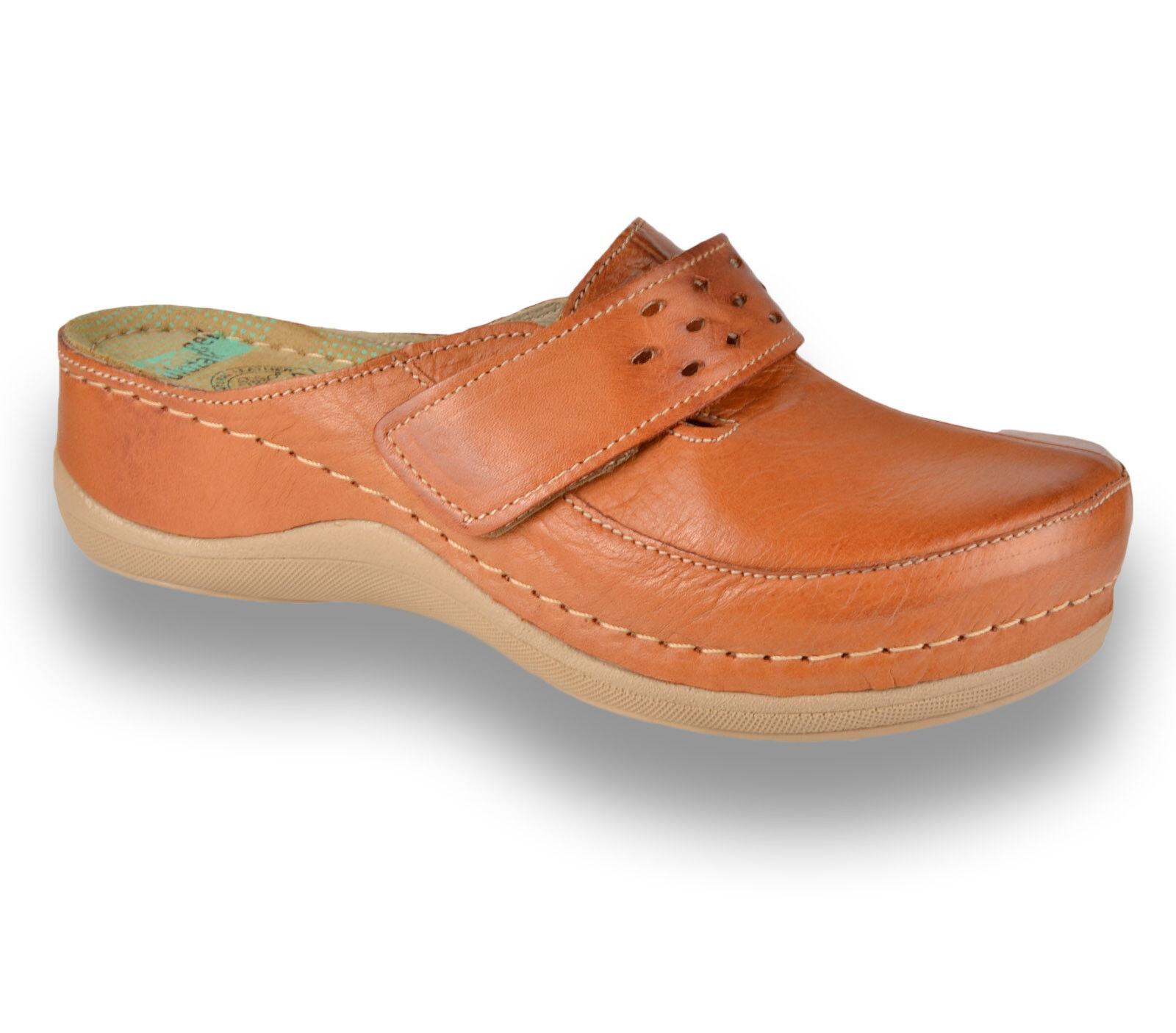 LEON 902 Donne Donna in Pelle Infilare Muli Zoccoli Pantofole Sandali, Marrone Nuovo Regno Unito