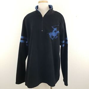 a889a655b Beverly Hills Polo Club Mens Black/Blue Horse Logo 1/4 Zip Fleece ...