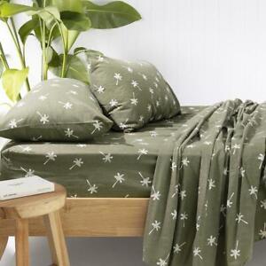 Bambury Cocos Flannelette Sheet Set -Olive