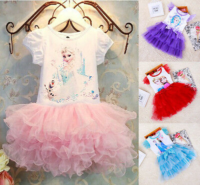 Princess Fancy Dress Party Costume Elsa Kids Girls Anna Dresses for Frozen
