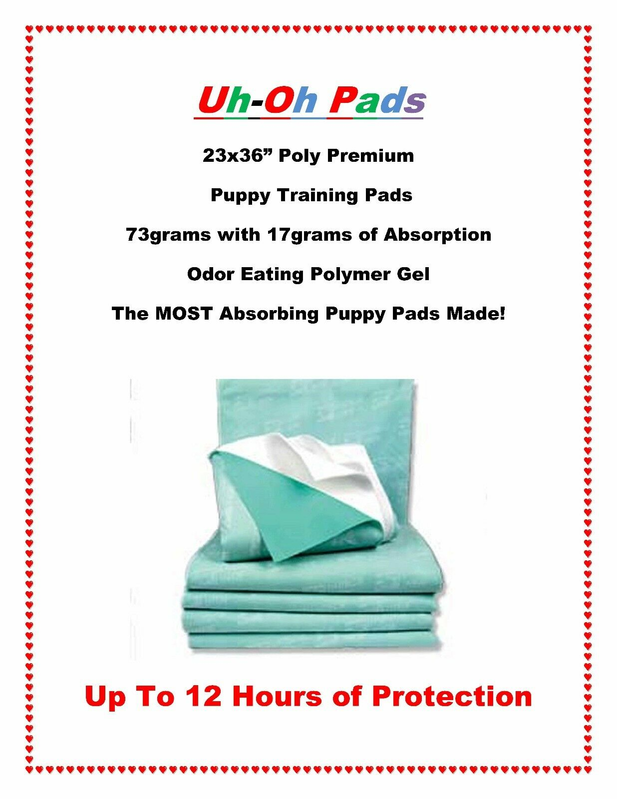 300 UH OH Poly-Pro's 23x36 PREMIUM Puppy Training Pads w Absor-O-Max up to 12hrs