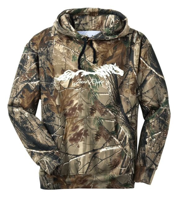 REALTREE CAMO JUST RIDE HORSE CAMOUFLAGE HOODIE SWEAT SHIRT COWGIRL TACK SADDLE