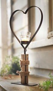 großes Metall Herz mit Glas Teelicht Halter & Treibholz, Hochzeits Tisch Deko
