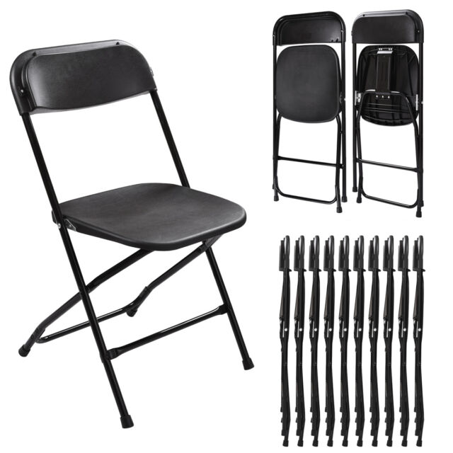 10 Plastic Folding Chairs Wedding Banquet Seat Premium Party Event Chair Black