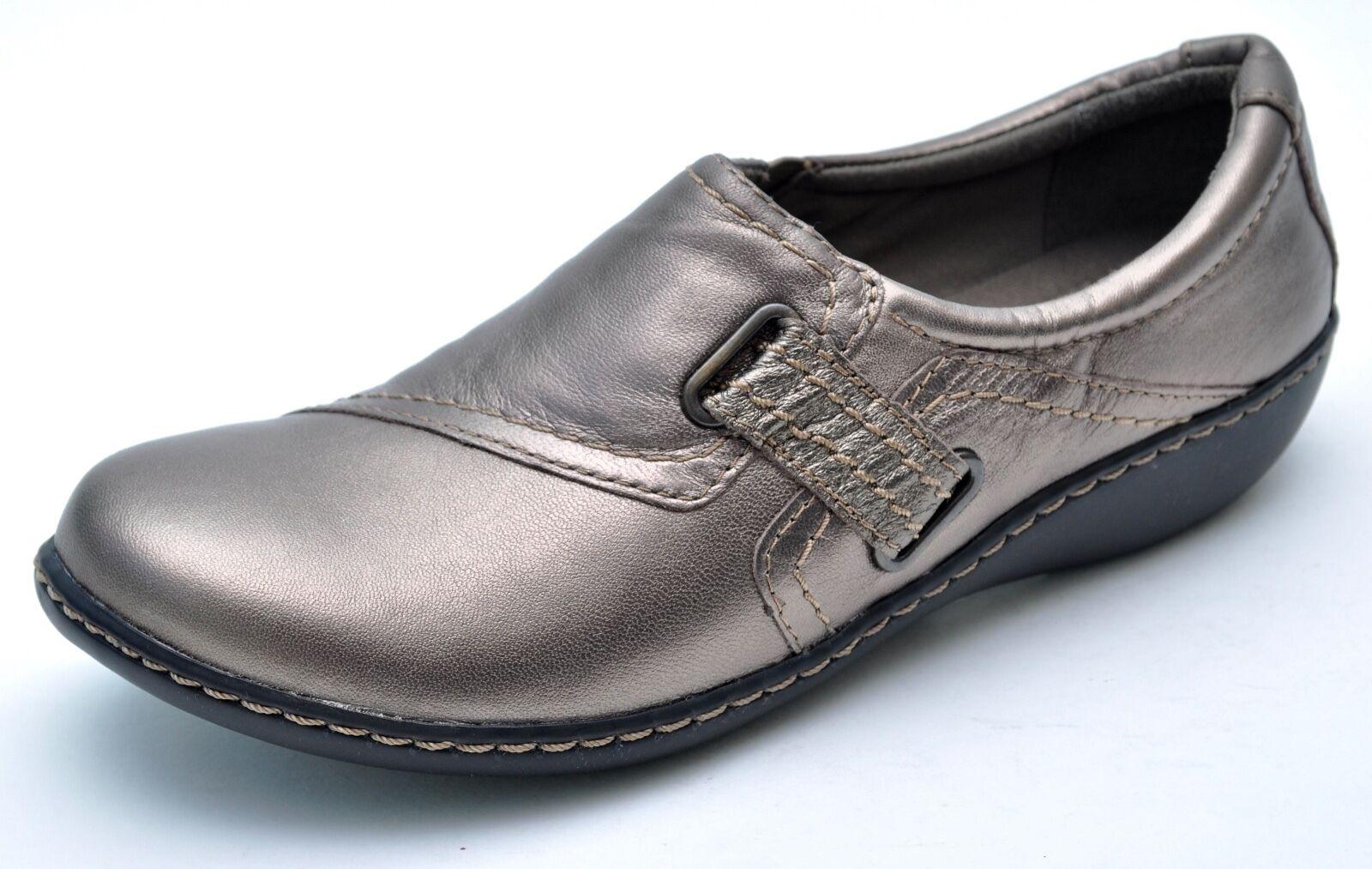 Clarks ASHLAND blueSH Pewter Metallic Leather Slip-Ons Women's 7.5 - NEW