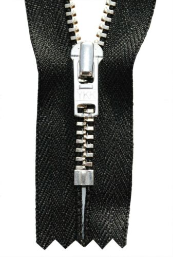 Reißverschluss schwarz 10-18cm für Hosen 4mm Metallzähne silber farbend
