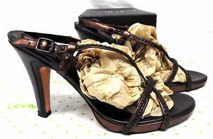 Cole-Haan-women-039-s-size-7-B-leather-sandals-dark-brown-high-heel-ankle-ilysa