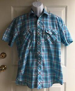 Fusai-Men-039-s-Blue-Plaid-Short-Sleeve-Button-Down-Shirt-mens-sz-XL