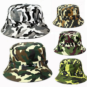e5274bbd250 Men Women Camouflage Camo Summer Bucket Cap Foldable Fishing Outdoor ...