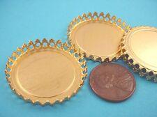Brass Round Crown Edge Bezel Cups 30mm - 4 Pieces