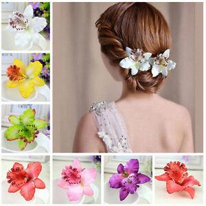 2X-Mariage-Noces-Orchidee-Pince-Cheveux-Fleur-Barrette-Femmes-Fille-FE