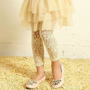 Girls Kids Children Lace Peony Bow Under dress Pants Bottoms Trousers Tights