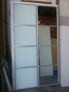 2 built in wardrobe sliding doors made to measure up to 2400 wide frosted glass ebay. Black Bedroom Furniture Sets. Home Design Ideas