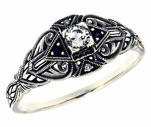 White Topaz and Sapphire Filigree Ring Sterling Silver Art Deco Style