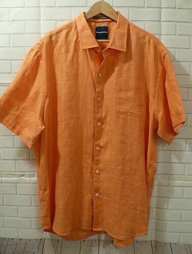 Tommy Bahama 100% Linen Men's Orange Shirt Sz XXL