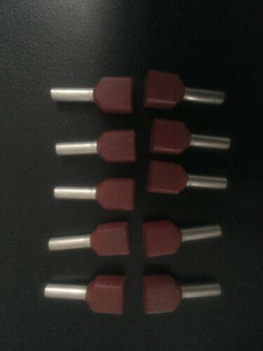 20x Twin Zwillingsaderendhülsen rot Klauke 871//8 2x1mm² 8mm lang Kabelschuhe