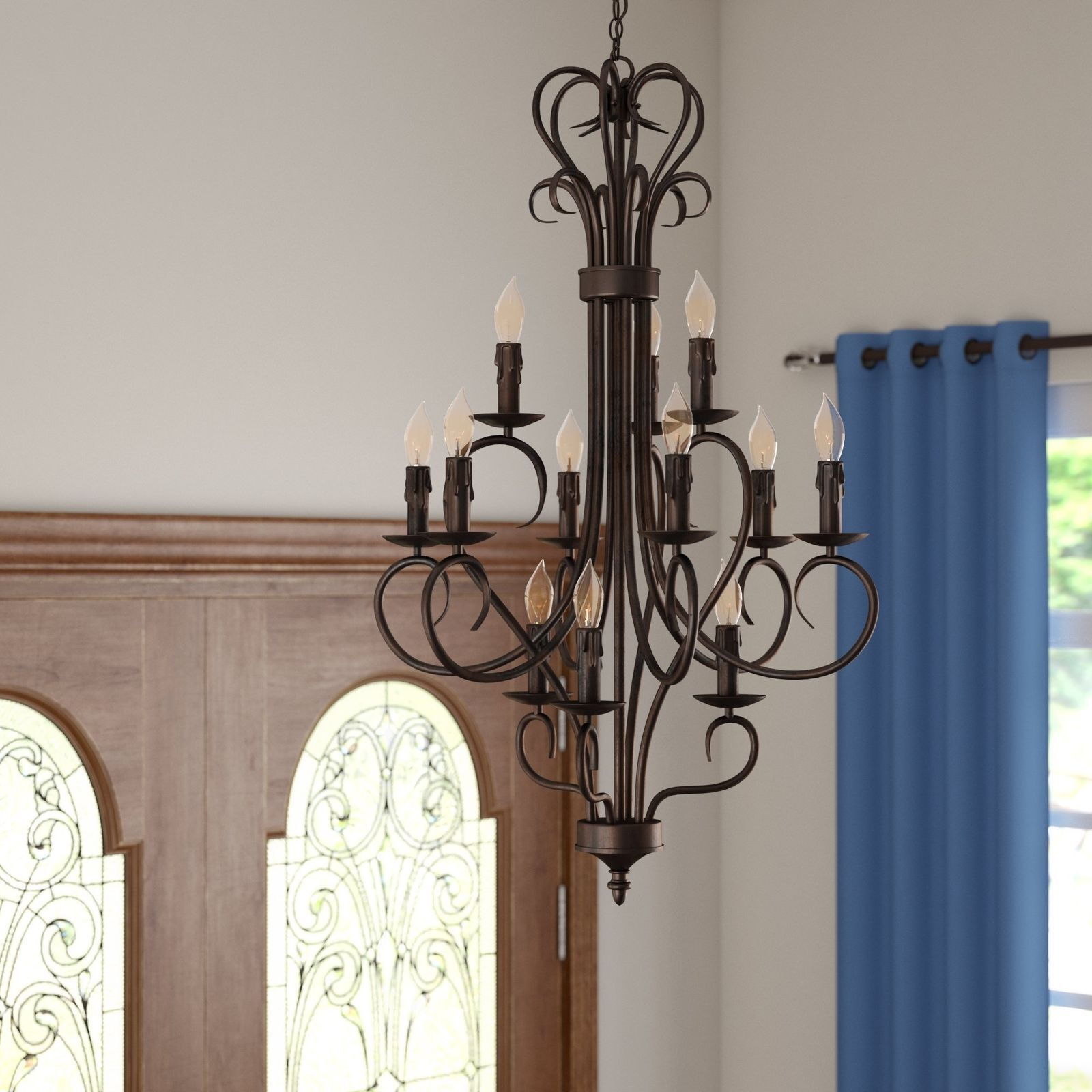 GoldEN LIGHTING THREE POSTS CASTINE 12-LIGHT CANDLE STYLE CHANDELIER NNB