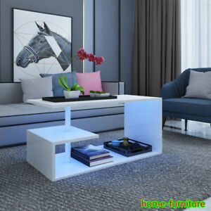 Home High Gloss Coffee Table Modern White Living Room Led