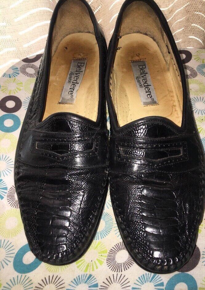 Belvedere Florence Autruche Noir Italien Robe Chaussures 10.5 voir photos
