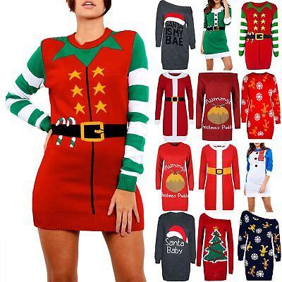 Womens Ladies Xmas Elf Costume Christmas Knitted Fancy Santa Helper Mini Dress