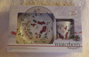 Image is loading Pfaltzgraff-Winterberry-Cookies-&-Milk-Santa-Plate-&- & Pfaltzgraff Winterberry Cookies u0026 Milk Santa Plate u0026 Mug Set 25th ...
