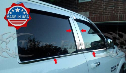 fits 09-2018 Dodge Ram Crew Cab Pillar Post+Window Sill Trim Combo 8Pc Stainless