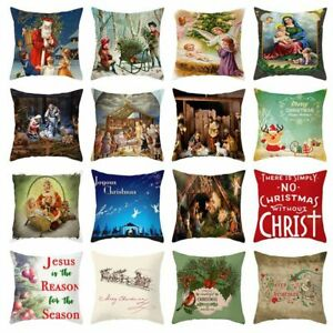 Christmas-Jesus-Cushion-Covers-18-034-x18-034-Throw-Pillow-Case-Home-Decor-kCzMt